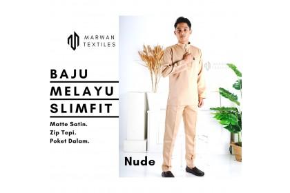 Baju Melayu Slim Fit Warna Nude ( Matte Satin Zip Tepi Poket Dalam)