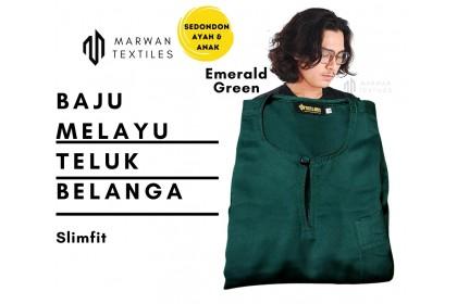 Baju Melayu Slim Fit Teluk Belanga Dewasa Warna Emerald Green