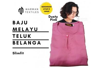 Baju Melayu Slim Fit Teluk Belanga Dewasa Warna Dusty Pink
