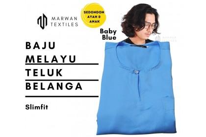 Baju Melayu Slim Fit Teluk Belanga Dewasa Warna Baby Blue