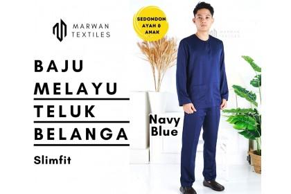 Baju Melayu Slim Fit Teluk Belanga Dewasa Warna Navy Blue