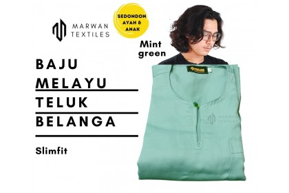 Baju Melayu Slim Fit Teluk Belanga Dewasa Warna Mint Green