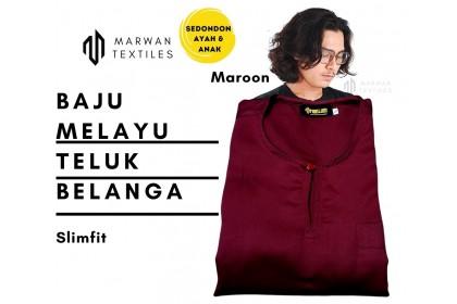 Baju Melayu Slim Fit Teluk Belanga Dewasa Warna Maroon
