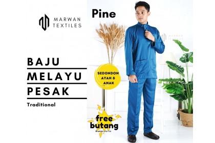 Baju Melayu Pesak Warna Pine