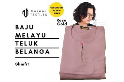 Baju Melayu Slim Fit Teluk Belanga Dewasa Warna rose gold